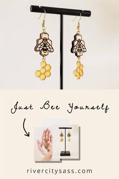 These gorgeous wood bee earrings are a great addition to your spring wardrobe. Wood Bees, Invite, Invitations, Honeycomb, Group, Board, Etsy, Jewelry, Design