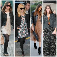 Style tips on how to winterize your favorite summer pieces with opaque tights, leather jackets, ankle boots, and more. | STYLE'N