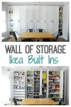 IKEA Built-ins for Storage: Create a wall of built-ins to maximize space! Create a wall of custom bookcases my customizing wardrobes and bookcases for a beautiful wall of IKEA built-ins. Its perfect for maximizing storage in a den, office, or bedroom. Basement Storage, Craft Room Storage, Built In Storage, Basement Remodeling, Ikea Living Room Storage, Ikea Office Storage, Closet Organization, Nursery Organization, Ikea Craft Room