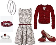 A very Christmas-y outfit: A-line dress, red cardigan, matching shoes and accessories.