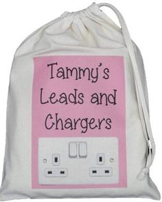 PERSONALISED - LEADS AND CHARGERS DRAWSTRING BAG - SMALL NATURAL COTTON pink Personalised LEADS AND CHARGERS BAG Small Drawstring Bag Designed and