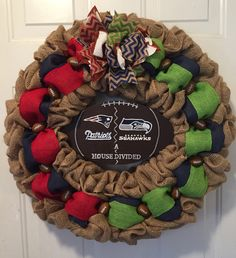 A personal favorite from my Etsy shop https://www.etsy.com/listing/488870440/new-england-patriots-wreath-seattle