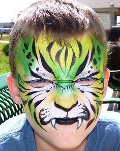 fierce  face paint groene tijger  schminkenisleuk.nl