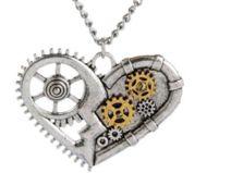 Steampunk Herz Kette silber, für Männer und Frauen