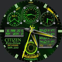 """Design inspired by my """"old"""" Citizen EcoDrive Skyhawk, Blue Angels edition. I liked and I still like that watch very much, so I decided to make a watch face myself. - Tapping on Batt dial will bring up a fliashlight on the phone (""""Brightest Flashlight Free"""") - Tapping on 24h dial will bring up """"Stopwatch For Android Wear"""" app on the watch - Tapping on timezone dial will bring up """"Wear Phone"""" app on the watch - Tapping on the moon phase/compass will bring up """"Bearing"""" app on the watch (a…"""