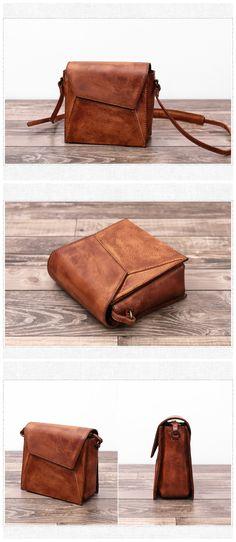 a47734d3e4 Full Grain Handmade Genuine Leather Small Messenger Bag Cross Body Bag We  use genuine cow leather