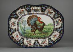 "35: Flow Blue 23"" Staffordshire Spode Turkey Platter : Lot 35"