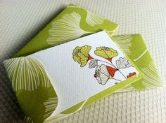 Ginkgo Mini Cards and Envelopes  Gift Enclosure  by PikakePress, $8.00 So cute~