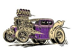illustration and design by Ger Peters Cartoon Car Drawing, Cartoon Art, Art Pictures, Art Images, Cool Car Drawings, Monster Car, Cars Coloring Pages, Garage Art, Lowbrow Art