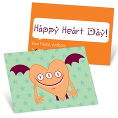 Pear Tree Cards are designed to stand out from the rest!  Personalize the Orange Monster Valentine's Day Cards for Kids with your choice of text, color, and fonts.