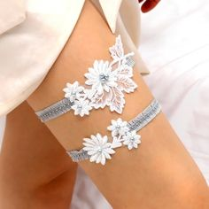 Something Blue!! Lacy I garter - white floral lace applique with blue pearls bridal garter set. $48.00, via Etsy.