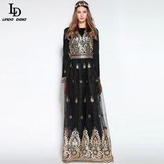 Winter Women's Party Noble Sequined Gold Line Embroidery Long Dress $93.05 => Save up to 60% and Free Shipping => Order Now! #fashion #woman #shop #diy http://www.clothesdeals.net/product/ld-linda-della-winter-new-womens-party-noble-sequined-gold-line-embroidery-long-dress-designer-voile-vintage-black-maxi-dress