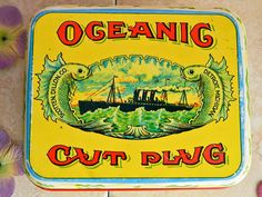 Oceanic Cut Plug Tobacco Tin: Vintage Reproduction Metal Container Made by CHEINCO Housewares 1970s by ODeerMercantile on Etsy