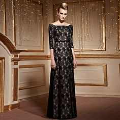 Awesome lace bateau neckline A-line #eveningdress! Is this dress you're looking for? #evening #longgown #promdress