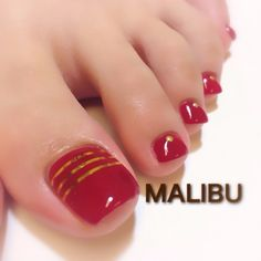 Red-Gold Toe Nail Art #nailbook