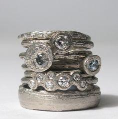 Diana Porter - 'Strata' Precious ring stack
