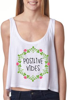 Positive Vibes Crop Top Hipster Crop Tops, Cute Crop Tops, Outfits For Teens, Summer Outfits, Cute Outfits, Hi Fashion, Cute Fashion, Fresh Tops, Warm Weather Outfits