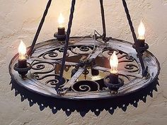 PAIR WROUGHT IRON CHANDELIERS VINTAGE SPANISH COLONIAL MISSION MONTEREY LARGE