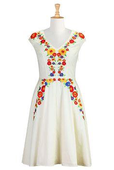 I <3 this Vivid blooms embellished poplin dress from eShakti