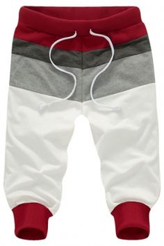 Wine Elastic Ribbed Mens Jogger Shorts