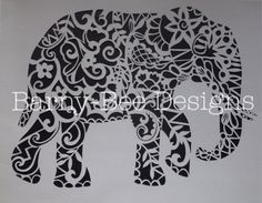 Plantilla de Papercut elefante cortar tu por BarnyBeeDesigns                                                                                                                                                      Más