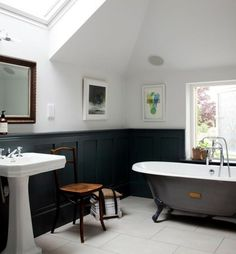 In this modern era, the small bathroom with clawfoot tub presence will be one of the centerpieces in the bathroom. Clawfoot tub dimensions for mid century bathroom decor. Black Wainscoting, Painted Wainscoting, Wainscoting Styles, Wainscoting Panels, Wainscoting Bathroom, Bathroom Renos, Bathroom Interior, Bathroom Chair, Bathroom Ideas