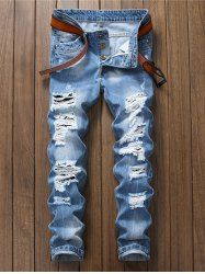 Washed Destroyed Jeans