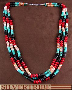 Silver And Multicolor Navajo Indian Bead Necklace DS56155