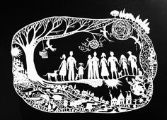 Family -custom orders from $350 - contact annabella67@gmail.com paper cut - Anne Gee www.annabella67.com
