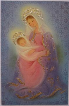#545 60s Norcross Glittered Mary & Baby Jesus-Vintage Christmas Greeting Card