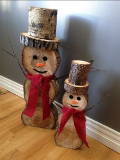 of the Best DIY Christmas Decorations - DIY Snowman Logs…these are the BEST Homemade Christmas Decorations & Craft Ideas! Homemade Christmas Decorations, Holiday Crafts, Holiday Decor, Snowman Decorations, Outdoor Decorations, Diy Christmas Crafts To Sell, Diy Christmas Decorations For Home, Christmas Wood, Christmas Projects