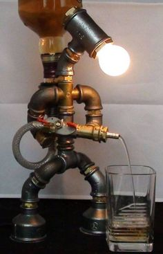 Liquor alcohol whisky dispenser, Firefighter Jack Daniels Birthday Gift for Him, Father's Day Gift, Steampunk Fireman pipe robot Night Lamp Alcohol Dispenser, Drink Dispenser, Whiskey Dispenser, Whisky Spender, Metal Projects, Diy Projects, Lampe Steampunk, Lampe Art Deco, Pipe Furniture