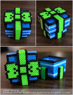 3D Fuse Bead Gift Box by PkmnMasterTash on DeviantArt