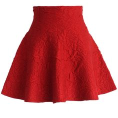 Chicwish Daisy Embossed Skater Mini Skirt in Red ($38) ❤ liked on Polyvore featuring skirts, mini skirts, bottoms, saias, red, skater skirt, daisy print skirt, red mini skirt, red miniskirt and short skirts