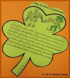 How to catch a leprechaun: creative writing in three steps: first, next and last. Kids will learn about leprechauns, brainstorm ideas, and write them on shamrock-shaped, lined paper for a beautiful display. Tips to differentiate, task cards and puppets to enact the drama.