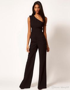 Wholesale Ladies Sexy Jumpsuit Pant One Shoulder Slim Waist Black Jumpsuits Rompers One Piece Flared Trousers Pants Women Elegant Party Suit ZND1003, Free shipping, $12.57/Piece | DHgate Mobile