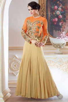 Beige and orange georgette anarkali gown with price $132.83.Andaaz fashion presents new arrival.Embellished with embroidered, resham, zari, stone and hand.It is perfect for festival wear, party wear and wedding wear. http://www.andaazfashion.us/womens/gowns/occasion/party-wear