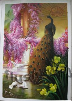 Hand Painted Animal Art Peacock Dove Birds Oil Painting On Canvas Size