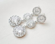 Statement Bridal Earrings Round CZ Earrings by SarahWalshBridal