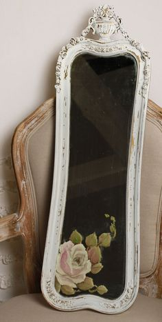 Hand painted roses, antique mirror, shabby chic mirror, wall art, Joanne Coletti <3