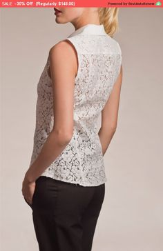 3a08d663 30% Sale, Work Clothes, Lace Shirt, Collared Shirt, Womens Lace Tops,  Sleeveless Shirt, Fashion Tops, Summer Tops, Womens Clothing Tops