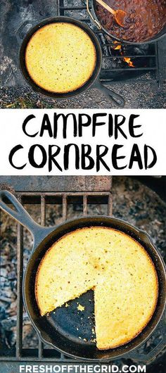 Skillet Cornbread Cornbread made from scratch, cooked in a skillet right over the campfire! A perfect camping recipe.Cornbread made from scratch, cooked in a skillet right over the campfire! A perfect camping recipe. Easy Cornbread Recipe, Skillet Cornbread, Camping Desserts, Camping Dishes, Camping Essentials, Camping Hacks, Camping Checklist, Camping Supplies, Camping Guide