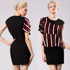 Stylish Lady Women's Casual Sexy New Fashion Short Flouncing Sleeve O-neck Stripe Chiffon Mini Dress