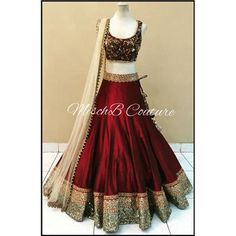 Monika Silk Mill Presents Maroon & Cream Designer Embroidered Lahenga Choli