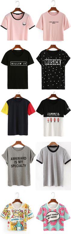 THE CHIC - Print Color Blcok T Shirts - Romwe.com