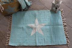 Teppiche - SUMMERSALE! Flickenteppich Stern türkisTeppich - ein Designerstück von KitschKlitsche bei DaWanda