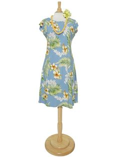 9ea0972c6ca Two Palms Tuberose Blue Rayon Hawaiian Handkerchief Sleeve Midi Dress