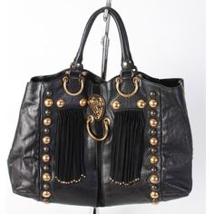 """Gucci 'Babouska' leather handbag in excellent condition. Gold & brass studs, suede fringe details. Length: 19"""", height: 13"""", strap drop: 6"""". Retail: $2,195, Glamdrobe's price: $995. For inquiries email info@glamdrobe.com. #gucci #guccibabouska #glamdrobe #luxury #handbag #purse #leather #consign #consignment #fashion #studs #fringe #trends #instaglam"""