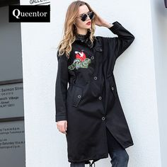 Cut Price $155.25, Buy QUEENTOR 2017 Brand Autumn and Winter New Korean Fashion Slim Embroidered Trench Coat for Women Wholesale