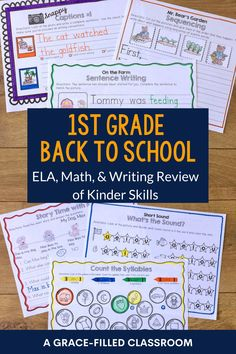 Get your school year started with your 1st grade students with these easy to use back to school printables. Use during the first week to review kindergarten skills. These are skills that a 1st grader should be able to do independently making it perfect for the first few days of school when you're teaching and practicing rules